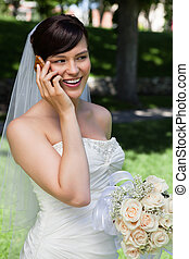 Bride on Cell Phone