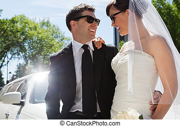 Wedding Couple with Sunglasses - Happy married couple...