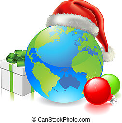 Christmas Globe - Christmas globe with Santa hat, gift and...