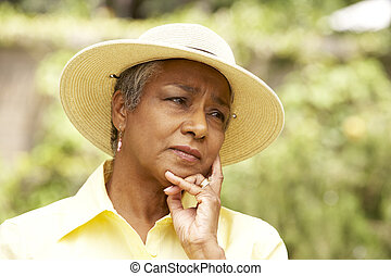 Senior Woman With Thoughtful Expression