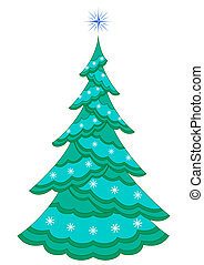 Christmas fir-tree with snowflakes