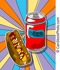 Pop art beer and hot dog