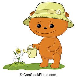 Teddy bear watering a flower