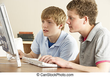 Two Teenage Boys on Computer at Home