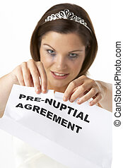 Bride Tearing Up Pre-Nuptial Agreement