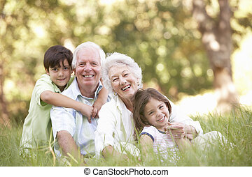 abuelos, en, parque, con, nietos