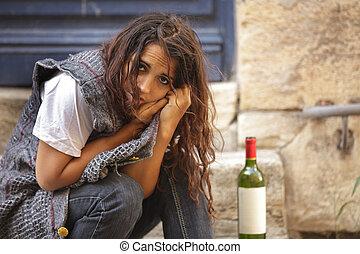 poor drunk woman