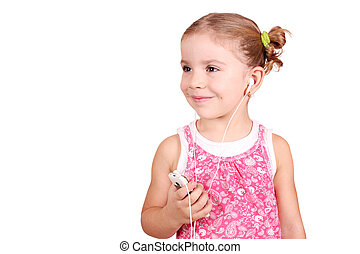 little girl listening music on phone