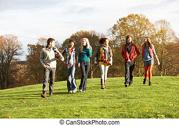 Group Of Teenage Friends Walking Through Autumn Landscape