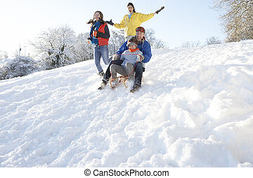 Family Having Fun Sledging Down Snowy Hill