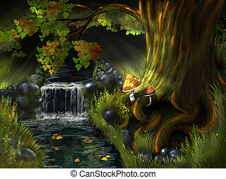 creek - illustration, a stream in the woods under a tree