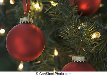 Red Christmas Baubles On Tree