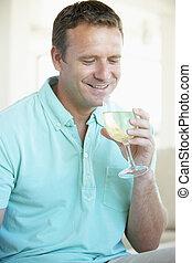 玻璃, 白色, 享用, 人, 酒