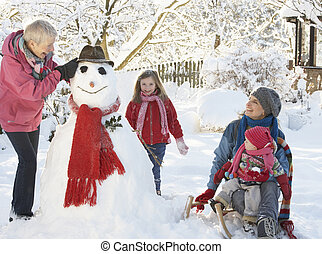 Young Girl With Grandmother And Mother Building Snowman In...