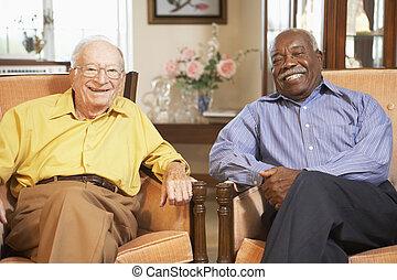 personne agee, hommes, délassant, fauteuils