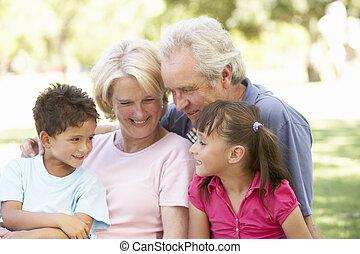 abuelos, y, nietos, el gozar, día, en, parque