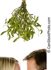 Couple standing beneath mistletoe against white background