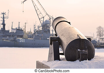 Gun in Kronstadt, St.-Petersburg, Russia. Winter .