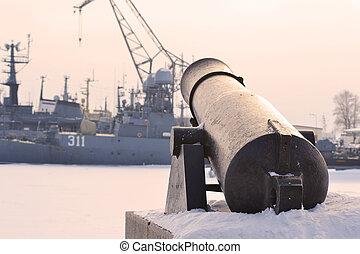Gun in Kronstadt, St.-Petersburg, Russia. Winter .