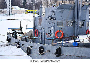 Russian warship in Kronstadt - Russian warship in the bay,...