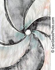 aperture - shutter aperture concept, watercolor illustration...