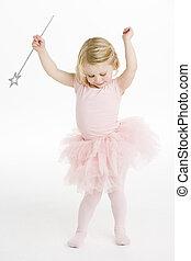 pequeno, bailarina, segurando, batuta