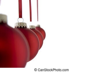 Line Of Red Christmas Baubles