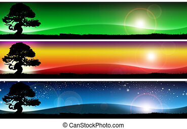 Three fantastic landscapes banners - Three banners with...