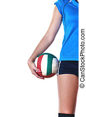 gir, tocando, voleibol