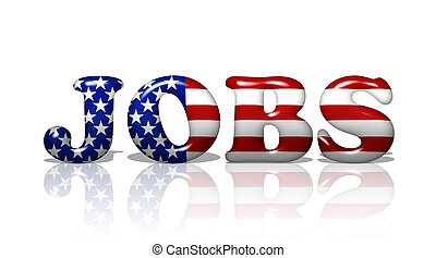 Jobs in America - The word Jobs in the American flag colors,...