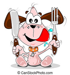 Puppy dog meal time - Cartoon puppy dog with knife fork Meal...