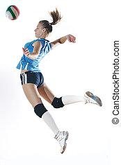 niña, juego, voleibol