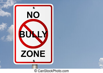 No Bully Zone - An American road sign with sky background...