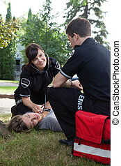 Positive Heart Response EMS Team - EMS team getting positive...