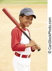 Young Boy Playing Baseball