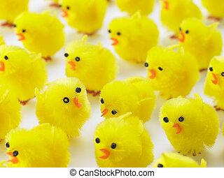 abundancia, de, Pascua, polluelos