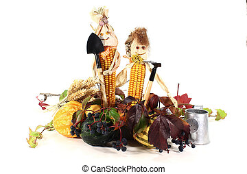 colourful harvest festival - Autumn vegetables with corn...