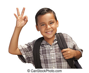 Happy Young Hispanic Boy Ready for School on White - Happy...