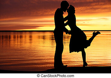 southern beach for a loving couple - Fine evening on a...