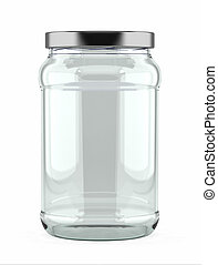 Empty Glass Jar - Empty glass jar with aluminum lid over...