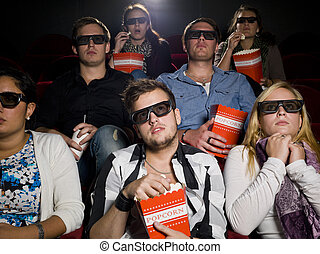 Scared movie spectators - Scared Movie spectators with 3d...