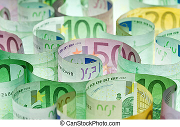 European currency - flow of colorful banknotes money...