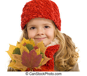 Happy autumn girl with colorful dried leaves - isolated,...