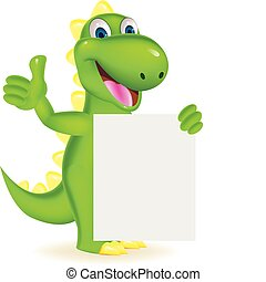 Green dinosaur with blank sign - Vector illustration of...