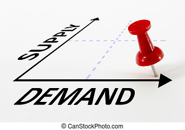 Supply And Demand Analysis Concept - High Demand and Low...