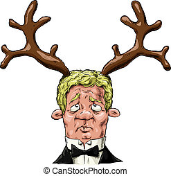 Cuckold - A man with antlers on his head, vector