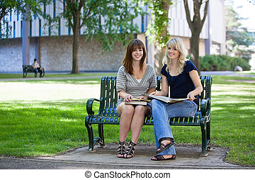 Happy College Students on Bench