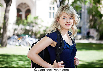 Sweet college girl - Portrait of sweet college girl with...