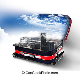 Red suitcase with city inside
