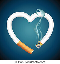 Cigarette burning Heart - illustration of burning cigarette...